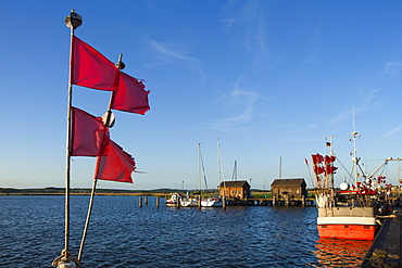 Boats in the harbour, Gager, Ruegen island, Baltic Sea, Mecklenburg-West Pomerania, Germany