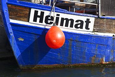 Cutter ÑHeimatì in the harbour, Sassnitz, Ruegen island, Baltic Sea, Mecklenburg-West Pomerania, Germany
