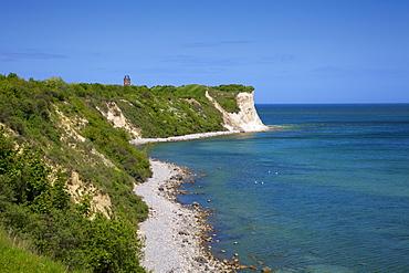 Tower and steep coast at Kap Arkona, Ruegen island, Baltic Sea, Mecklenburg-West Pomerania, Germany