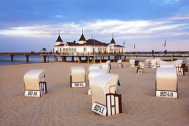Beach chairs and pier in the evening, Ahlbeck seaside resort, Usedom island, Baltic Sea, Mecklenburg-West Pomerania, Germany