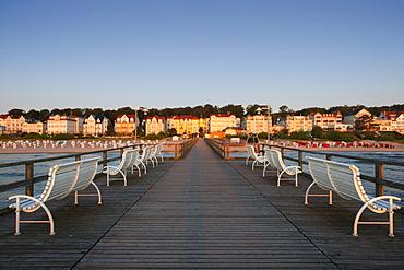 Benches on the pier, Bansin seaside resort, Usedom island, Baltic Sea, Mecklenburg-West Pomerania, Germany