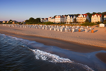 View from the pier to the seafront, Bansin seaside resort, Usedom island, Baltic Sea, Mecklenburg-West Pomerania, Germany