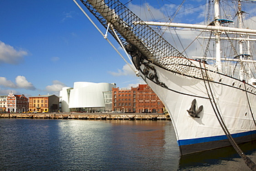 Ozeaneum and tall ship ÑGorch Fock I.ì in the harbour, Stralsund, Baltic Sea, Mecklenburg-West Pomerania, Germany