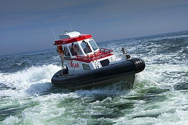Maritime salvage speedboat, Ruegen island, Baltic Sea, Mecklenburg-West Pomerania, Germany