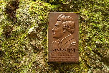 Plate with portrait and poem of Heinrich Heine, Ilse valley, Heinrich-Heine hiking trail, near Ilsenburg, Harz mountains, Saxony-Anhalt, Germany