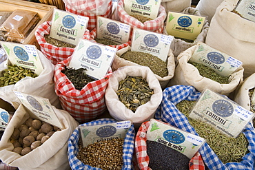 Dried Herbs and Spices at Manacor Market, Manacor, Mallorca, Balearic Islands, Spain