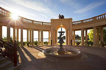 Fountain at the orangery of the castle, Schwerin castle, Schwerin, Mecklenburg Western-Pomerania, Germany