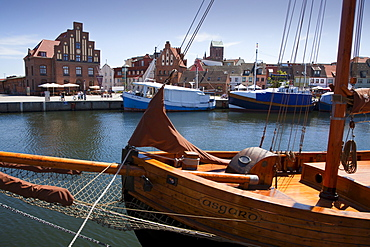 Ships at the harbour, Wismar, Baltic Sea, Mecklenburg Western-Pomerania, Germany