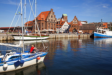 Sailboat at the entrance of the harbour, Wismar, Baltic Sea, Mecklenburg Western-Pomerania, Germany