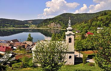 Village at a lake at the National Park Slovak Paradise, Slovakia, Europe
