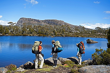 Three trekker at Solomons Jewels, Walls of Jerusalem National Park, UNESCO World Nature Site, Tasmania, Australia