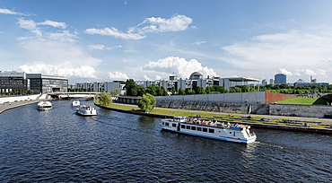 Spree river with Bundestag in the background, Potsdam, Berlin, Germany