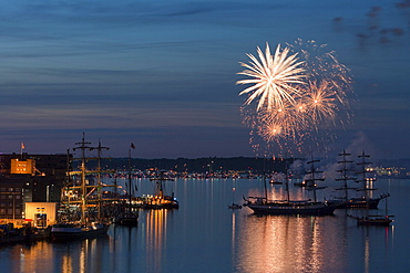 Fireworks and sailing ships at the Kieler Woche festival, View from the cruiseship MS Deutschland, Kiel, Schleswig-Holstein, Germany