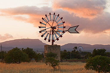 Wind wheels, cottage, near Campos, Mallorca, Balearic Islands, Spain, Europe