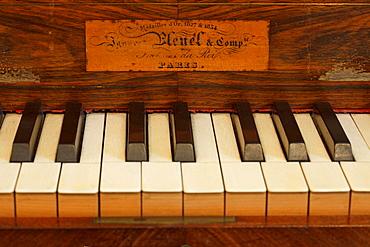 Keys of piano de Pleyel at cell 4 at monastery Sa Cartoixa, La Cartuja, Valldemossa, Tramuntana mountains, Mallorca, Balearic Islands, Spain, Europe