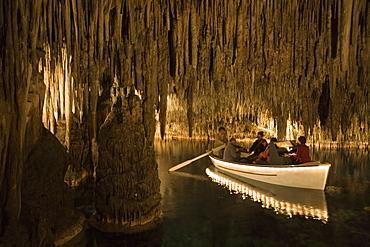 Classical Musicians on Boat inside Cuevas del Drach Cave (Cavern of the Dragon), Porto Cristo, Mallorca, Balearic Islands, Spain