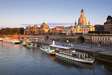 View over the Elbe river to Bruehlsche Terrasse, Frauenkirche and University of visual arts in the evening light, Dresden, Saxonia, Germany, Europe