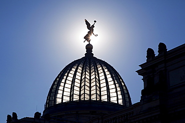 Goddess on the lemon squeezer, glass dome of the University of visual arts with glass dome, Dresden, Saxonia, Germany, Europe