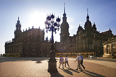 People at the Theaterplatz, Hofkirche and Dresden castle, Dresden, Saxonia, Germany, Europe