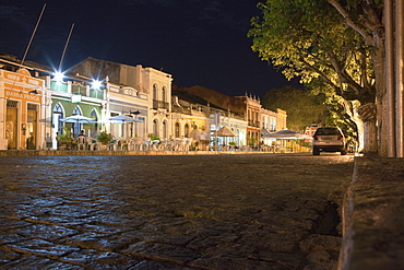 Historical houses with restaurants at the harbour in the evening, Canavieiras, Cacao Coast, State of Bahia, Brazil, South America, America