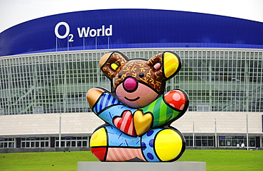 Colourful figure in front of O2 World event hall, Friedrichshain, Berlin, Germany, Europe