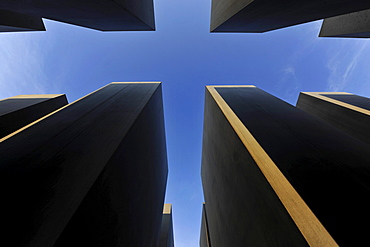 Low angle view of stelae of the Holocaus Memorial, Mitte, Berlin, Germany, Europe