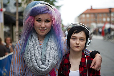 Fashionable girls look forward to Umea being European Capital of Culture 2014, Umea, Vasterbotten, Sweden