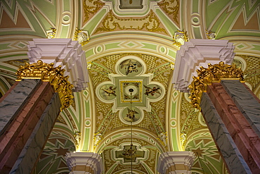 Columns and ceiling in Peter and Paul Cathedral at Peter and Paul Fortress, St. Petersburg, Russia