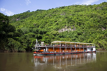 River cruise ship RV River Kwai, Cruise Asia Ltd on River Kwai Noi, near Kanchanaburi, Thailand