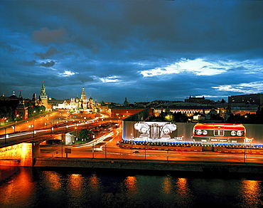 View from Kempinski Hotel over Moskva to St. Basil's Cathedral, Red Square and Kremlin, on the right BMW billboards, Moscow, Russia, Europe
