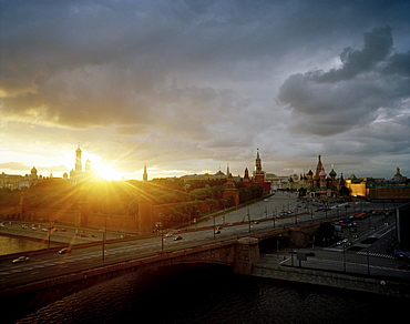 View from Kempinski Hotel over Moskva to St. Basil's Cathedral at sunset, Red Square and Kremlin, Moscow, Russia, Europe