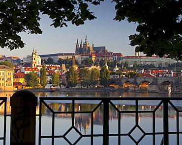 View towards Prague castle over the Vltava river, Prague, Czech Republic