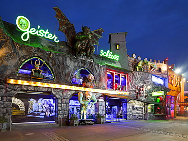 Illuminated ghost train, Prater, 2. Bezirk, Leopoldstadt, Vienna, Austria, Europe