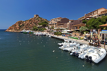 Motor boats in the Porto Harbor with the Genuese Tower in the background, L Ile-Rousse, Corsica, France