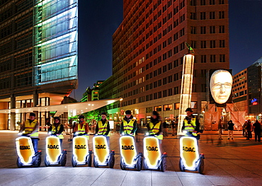 Group of Segway Drivers, Piano House, Old Potsdam Street, Kollhoff Tower, Potsdam Place, Festival of Lights, Berlin, Germany