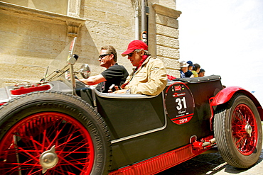 Vintage car at the old town, San Marino, Italy, Europe