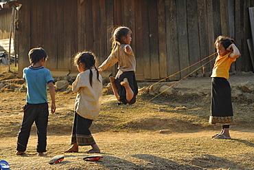Children playing in a village, Plain of Jars, Phonsavan, Xieng Khouang, Laos