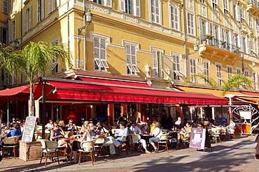 Street Cafe, Les Ponchettes, Flower Market, Cours de Saleya, Cote d Azur, Nice, Provence, France