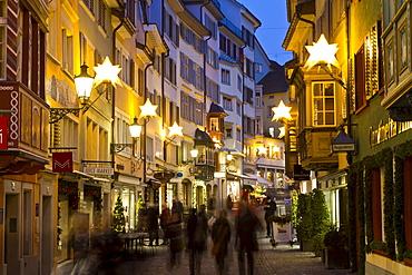 Augistinergasse, christmas illumination, Old City, Zurich, Switzerland