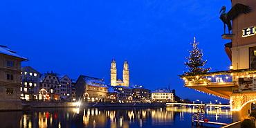 Hotel Storchen, old town center, river Limmat at night, Limmatquai Grossmunster, Zurich, Switzerland