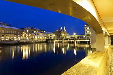 Acades at river Limmat, Zurich, Switzerland
