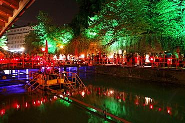 Rimini Bar with illumination at night, Zurich, Switzerland