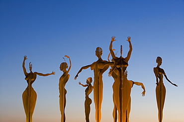 Human Figure Sculptures at Roundabout on Motorway from Palma to Manacor, Near Montuiri, Mallorca, Balearic Islands, Spain