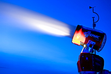 Snow cannon in action in the evening, Alto Adige, South Tyrol, Italy, Europe