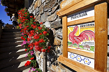 Farmhouse inn with a sign, farm holidays, Valley Tauferer Ahrntal, Alto Adige, South Tyrol, Italy