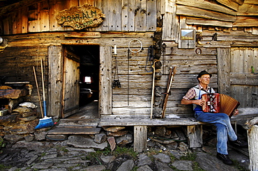 Dairyman playing accordion in front of his house, Schnals Valley, Alto Adige, South Tyrol, Italy
