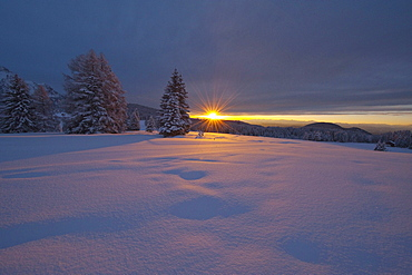 Winter scenery at sunset, Nature park Schlern, South Tyrol, Alto Adige, Italy, Europe