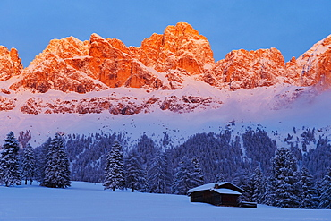 Snowy mountains at sunset, Nature park Schlern, Dolomites, South Tyrol, Alto Adige, Italy, Europe