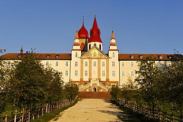 Maria Weissenstein monastery in the sunlight, Deutschnofen, Leifer valley, South Tyrol, Alto Adige, Italy, Europe