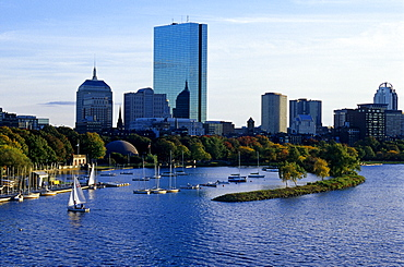 Marina at Charles River in front of high rise buildings, Boston, Massachussetts, USA, America